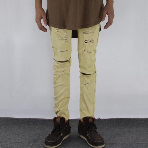 Solid Casual Hole Mid Waist Jeans