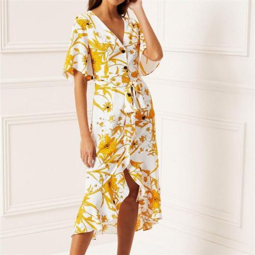 Women Floral Print Beach Dress 2019 Summer Boho Short Sleeve Ruffle Long Dress Casual Sundress Elegant Ladies Party Sashes Dress