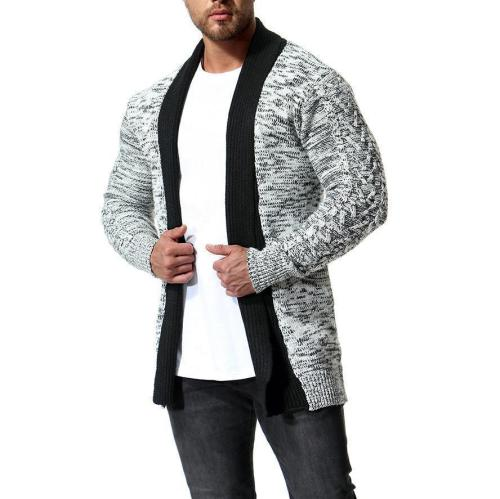 Fashion Color Blocking Winter Plain Long Coat