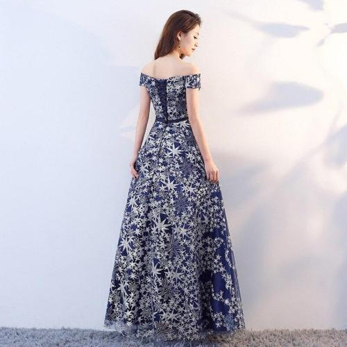 New Fashion Blue Print Short Sleeves Boat Neck Woman Plus Sizes Vestido De Festa Long Evening Dress Bride Party Prom Dresses