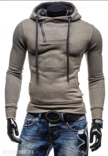 Basic Neckline Zipper Cotton Hoodie