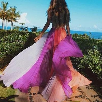 Bohemian Splicing Contrast Color Pleated Chiffon Skirt Evening Dress