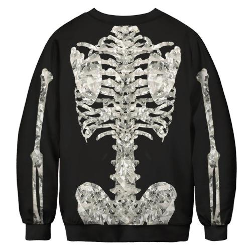 Skull Printed Round Neck Pullover Top