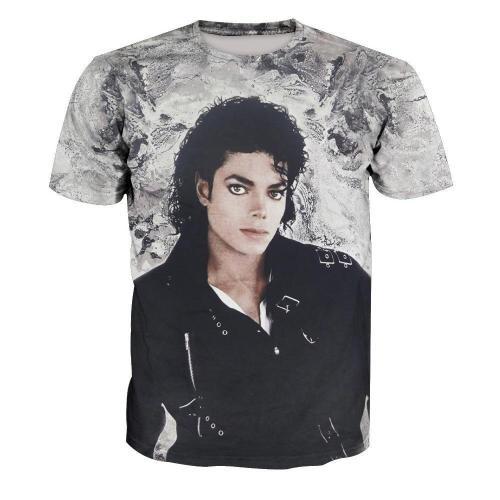 Michael Jackson Print Short Sleeve T-Shirt