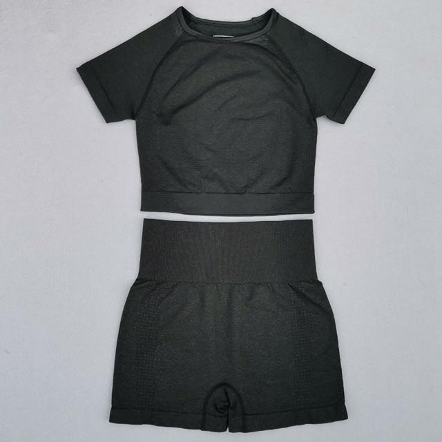 Seamless Yoga Suit 2 piece Sports Shirts Crop Top Seamless Leggings Sport Set Gym Clothes Fitness Tracksuit Workout Set Femme