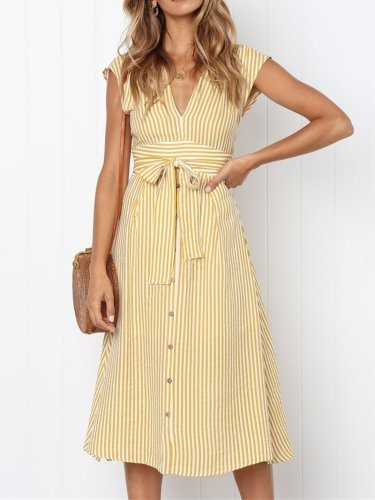 Fashion Deep V Bow Belted Pure Colour Casual Dresses