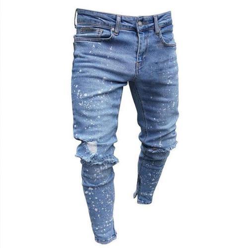 Splash Zipper Ripped Holes Jeans