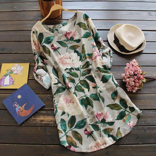 Dress Women Spring Summer  Plus Size dress Mini Dress Loose Floral Print Dress Ladies Dress Summer Casual Long Sleeve Dress 2020