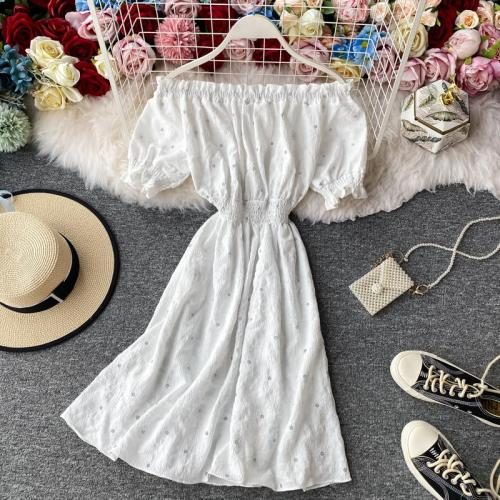 JOYMANMALL Women Summer Sweet Floral Dress Retro Puff Sleeve Sexy Slash Neck A-line Dress Elastic Ruched Boho Print Beach Sundress