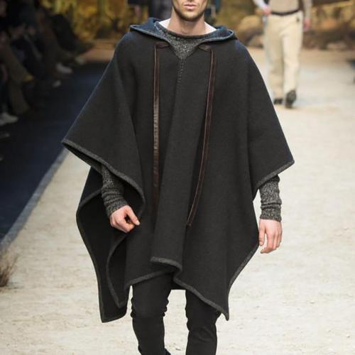 Fashion Men Cloak Coats Hooded Solid Color Cape 2020 Streetwear Poncho V Neck Loose Coat Irregular Men Long Trench