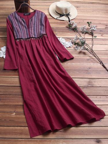 Vintage Ethnic Print V Neck Cotton Maxi Dress