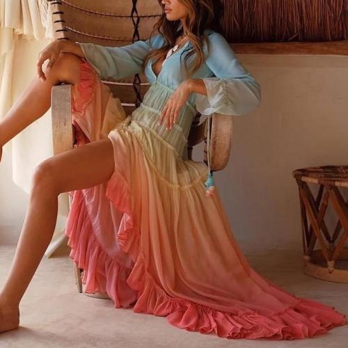 Fashion Gradation V Neck Waist Maxi Dresses