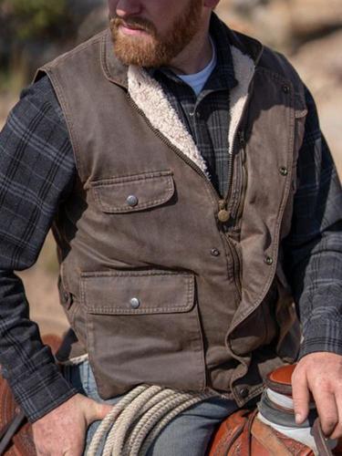 Vintage solid color stand collar zip pocket male vest