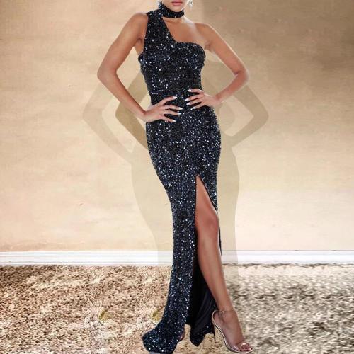 Elegant Single Shoulder Collar Gliter Dress
