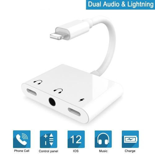 3-in-1 For Lightning To Charger Audio Adapter Splitter For iPhone iPad