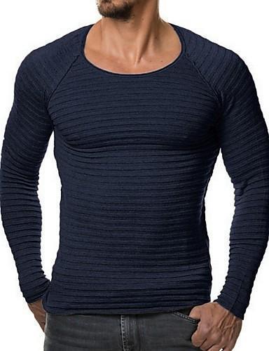 Men Solid Color Striped Slim Knitwear Long Sleeve T Shirt