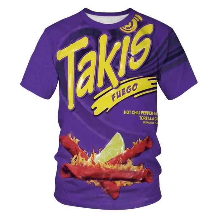 3D Takis Printed Funny Men T-shirt Loose Casual Novelty Short Sleeve Tees Top