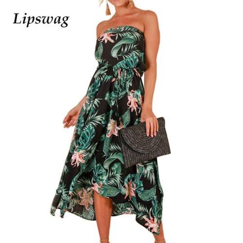 Summer Printed Split Long Beach Dress Sexy Women Sleeveless Irregular Boho Dress Elegant Strapless Lace-Up Party Dress Vestidos