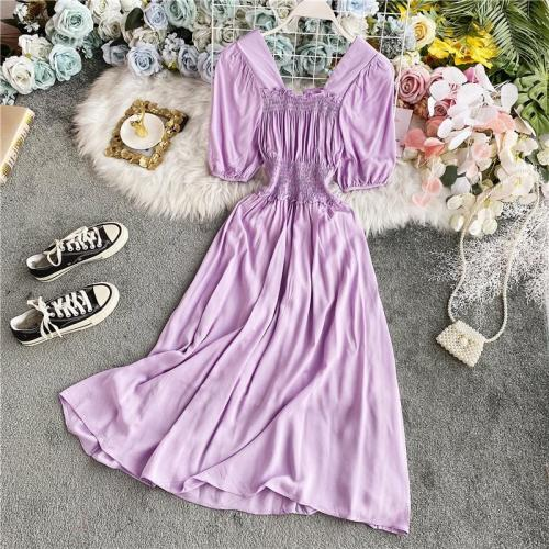 JOYMANMALL Women Summer Sweet Vintage Midi Dress Puff Sleeve Square Collar Simple Solid A-line Dress French Elastic Ruched Dress