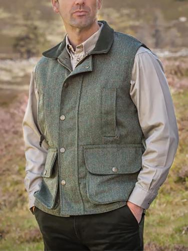 Men's fashion multi-pocket solid color vest