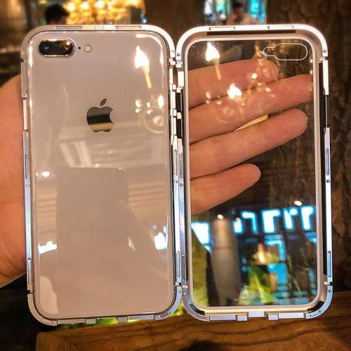 Metal Bumper Cases Magnetic Adsorption Transparent Armor Case for iphone