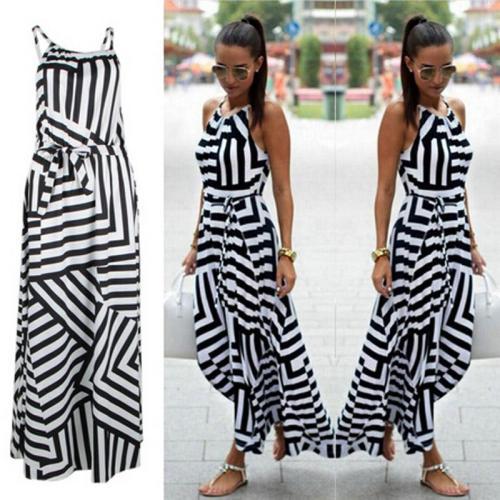 Summer Maxi Long Dress New Fashion Women Sexy Boho Striped Sleeveless Beach Style Strap Sundress Vestidos For Female Bigsweety
