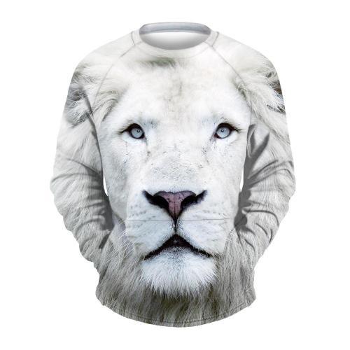 Men's White Lion Print Crew Neck Sweatshirt