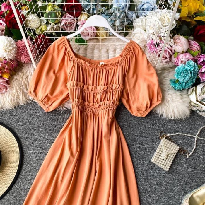 JOYMANMALL Women Summer Slash Neck Dress Vintage Sweet Puff Sleeve A-line Midi Dress French Romantic Simple Ruched Beach Sundress