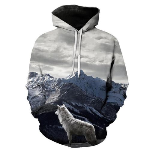Fashion Loose Wolf Printed Hoodie With Hat