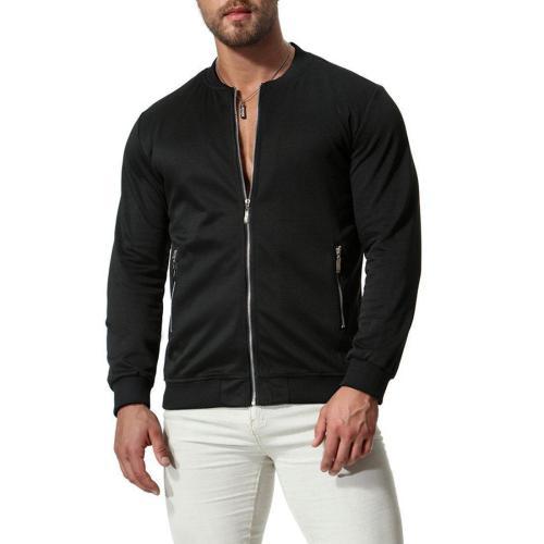 Fashion Round Collar Plain Zipper Coat