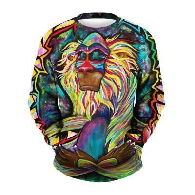 Men's Monkey Printed Round Collar Sweatshirt