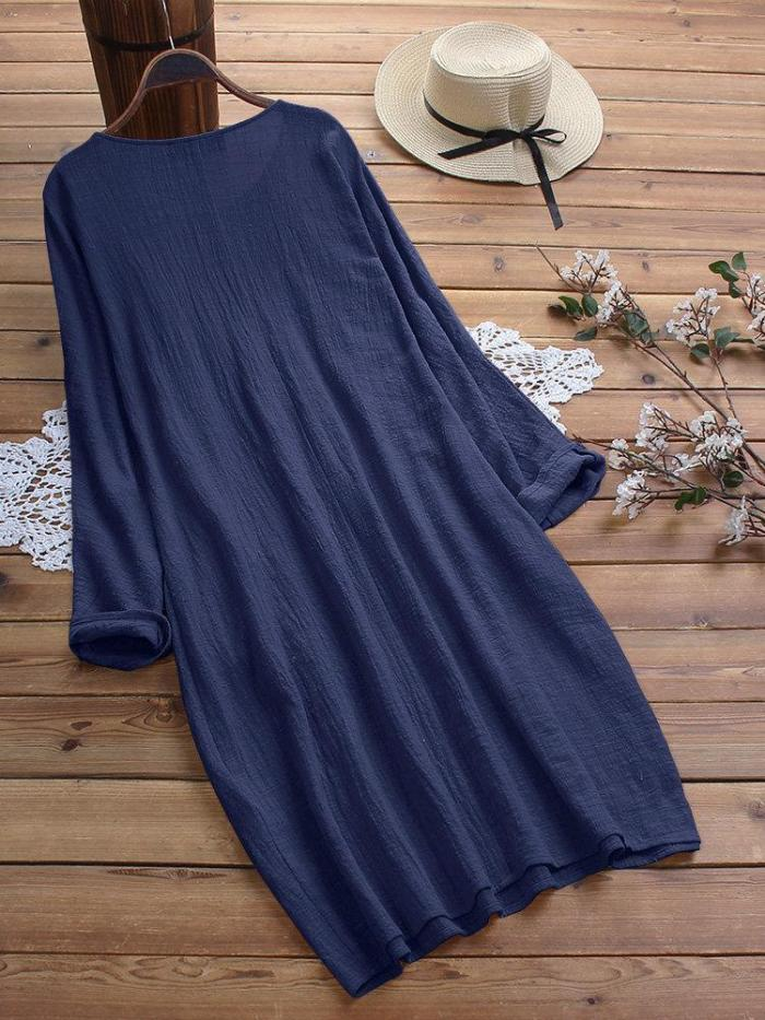 Vintage Solid Color Crew Neck Plus Size Maxi Dress with Pockets