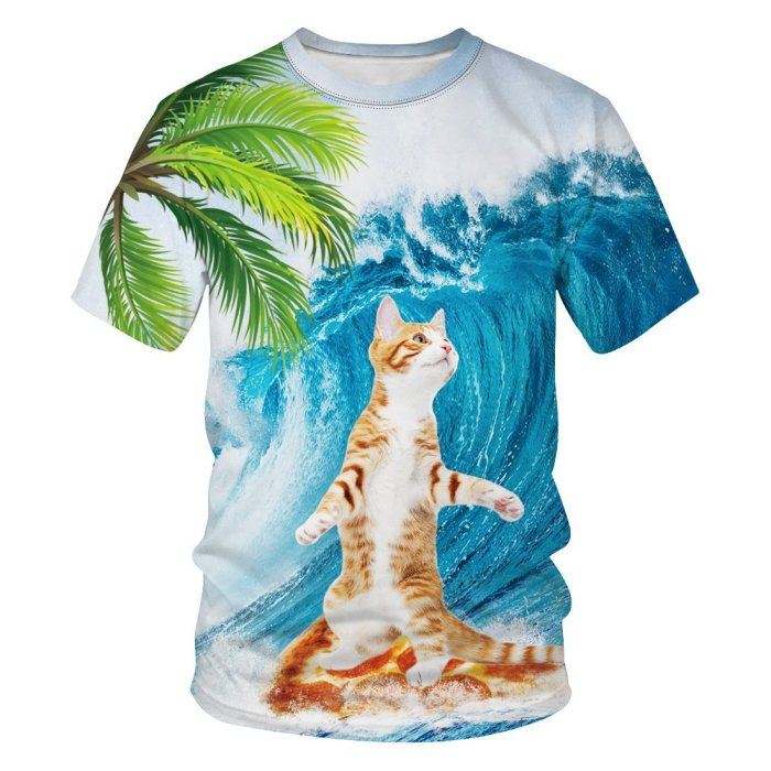 3D Cute Cat Printed Funny Men T-shirt Loose Casual Novelty Short Sleeve Tees Top