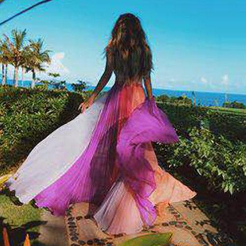 Sleeveless O-Neck Color Matching Pink Chiffon Dresses Long Plus Size Maxi Beach Maxi Dresses