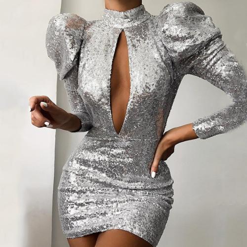 Fashion Sexy Collar Puff Sleeve Sequined Slim Dress