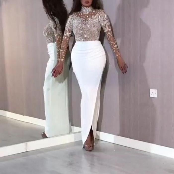 Long Sleeve Sequin Wrap Evening Dress
