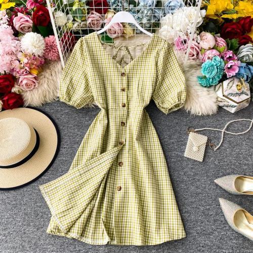 JOYMANMALL Women Summer Sexy Backless Dress Vintage Puff Sleeve V Neck Elastic Ruched Dress Sweet Elegant Streetwear Plaid Dress
