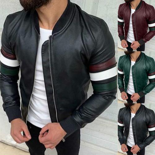 Men's PU Style Patchwork Coat