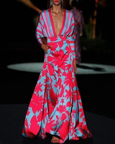 Deep V Neck Long Sleeve Bohemia Dress Sexy Long Print Floral Maxi Dresses Vintage Floral Long Maxi Dresses