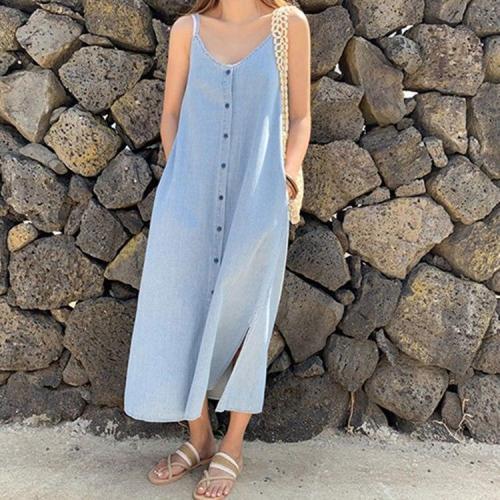 2020 Women Denim Sundress Summer Holiday V-Neck Single Breasted Casual Sleeveless Pockets Slit Long Maxi Dresses