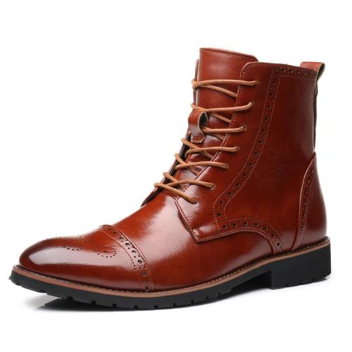 Men Pointed Toe Boots Fashion Autumn Winter Men Mid-Calf Boots Men Leather Motorcycle Boots Retro Brogue High Top Boots Dropship