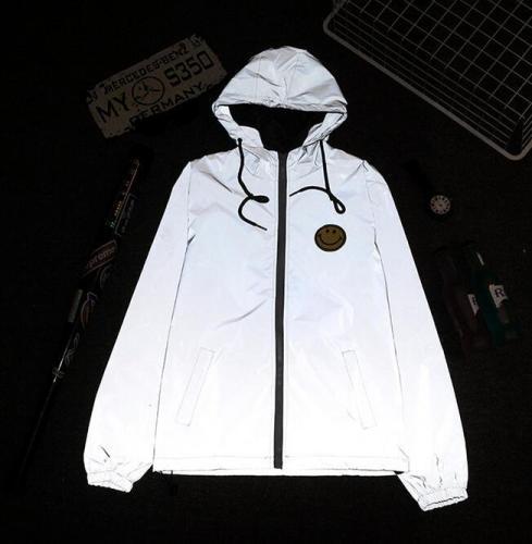 Men's windbreaker 3m reflective jacket Male casual hip hop Waterproof  fluorescent mens jackets and coats Smile logos Outwear