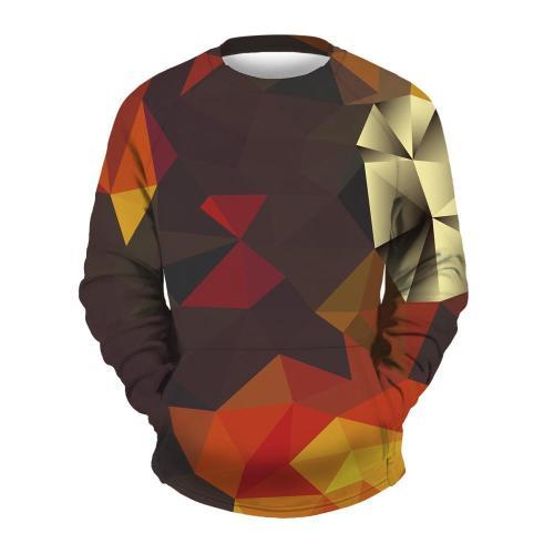 Men's Square Printed Round Collar Sweatshirt
