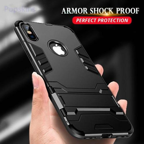 Kickstand Cover PC+Silicone Shockproof 3D Shield Case For iPhone