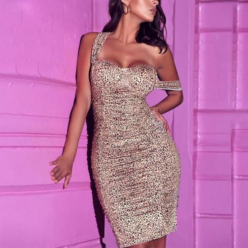 Halter One - collar Sexy Backless Slim Leopard Print Dress