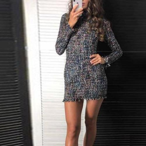 Casual Plaid Long Sleeve Dress
