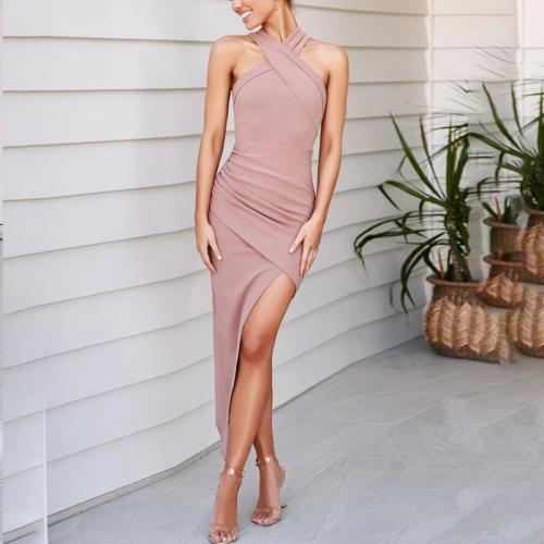 Halter-Style Sexy Shoulderless Slim Split Bodycon Dress