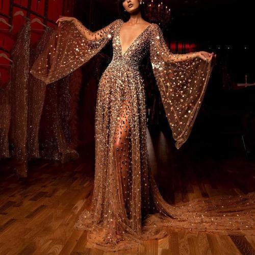 Women's Elegant See-Through Hot Drilling Kimono Sleeve Evening Dress