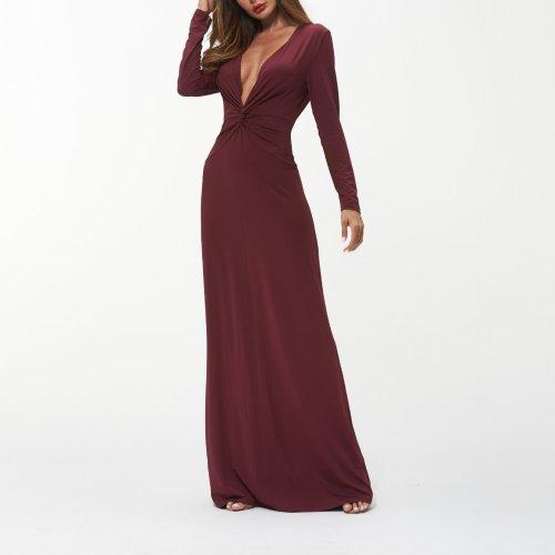 Sexy Deep-V-Neck Long Sleeves Plain Maxi Dress