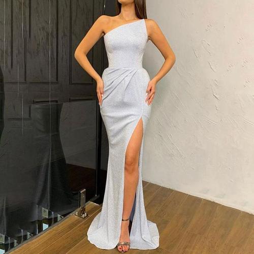 Fashion One Shoulder Slip Slit Wrinkle Evening Dress